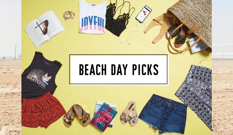 flat lay of clothes to wear to the beach