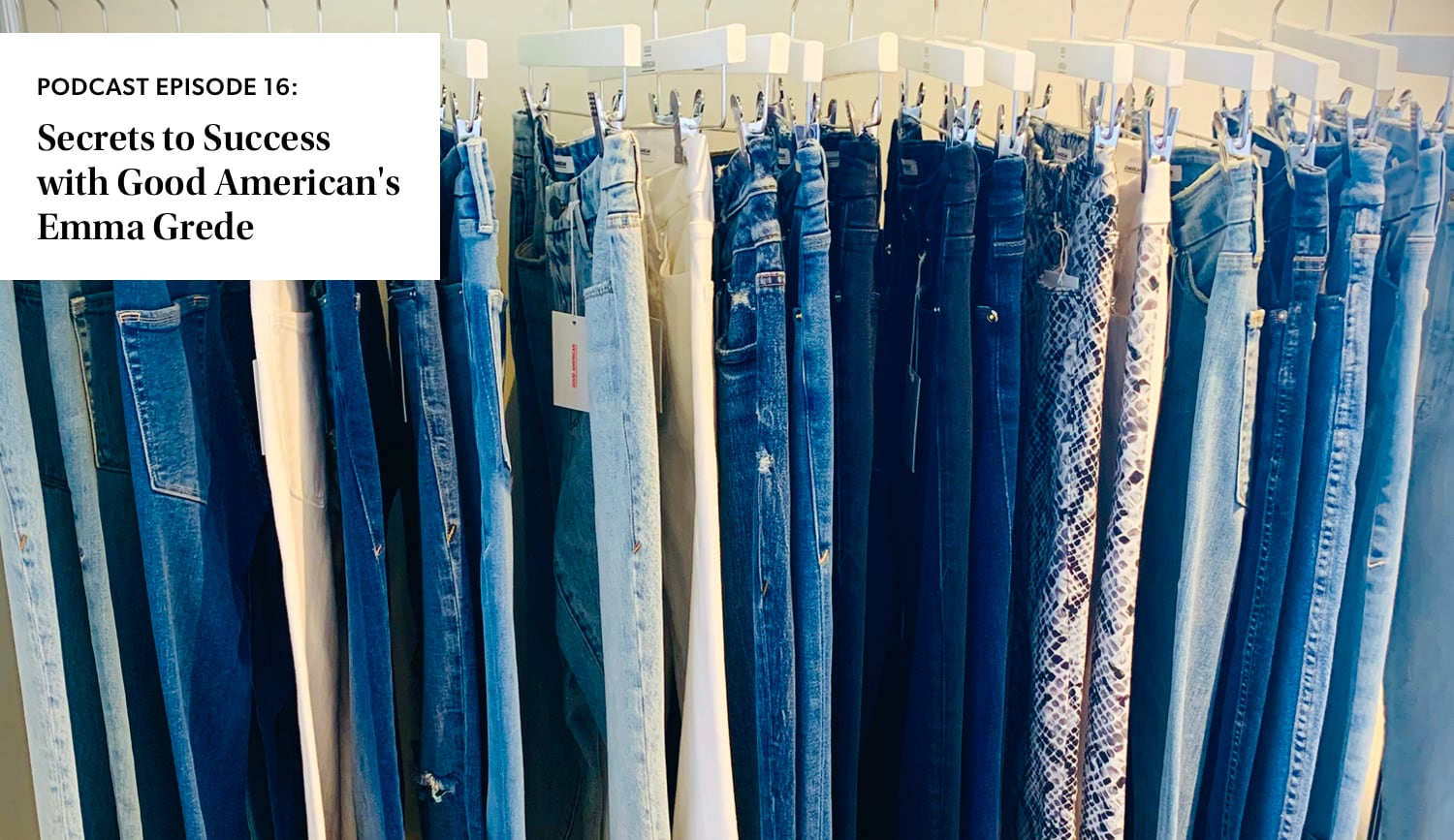 denim hanging on a rack