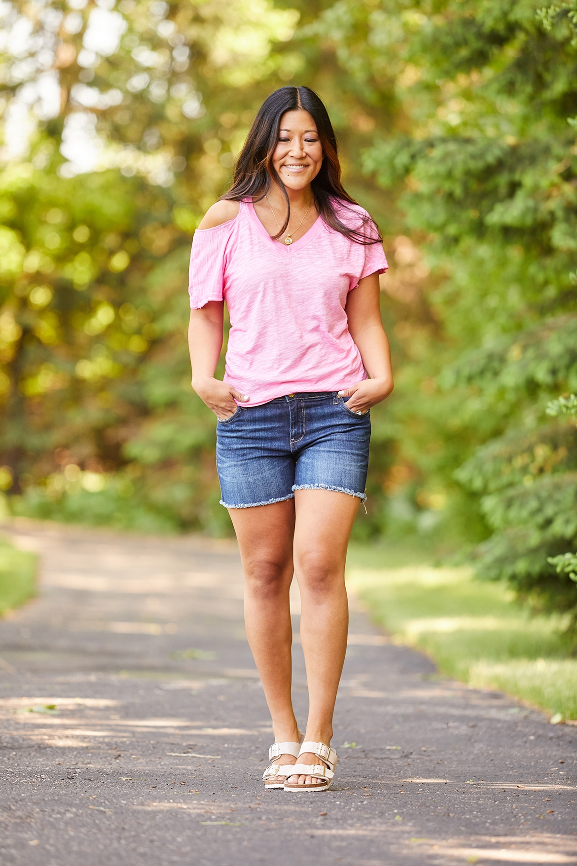 Kut from Kloth Gidget Shorts and Pink Cut Out Tee