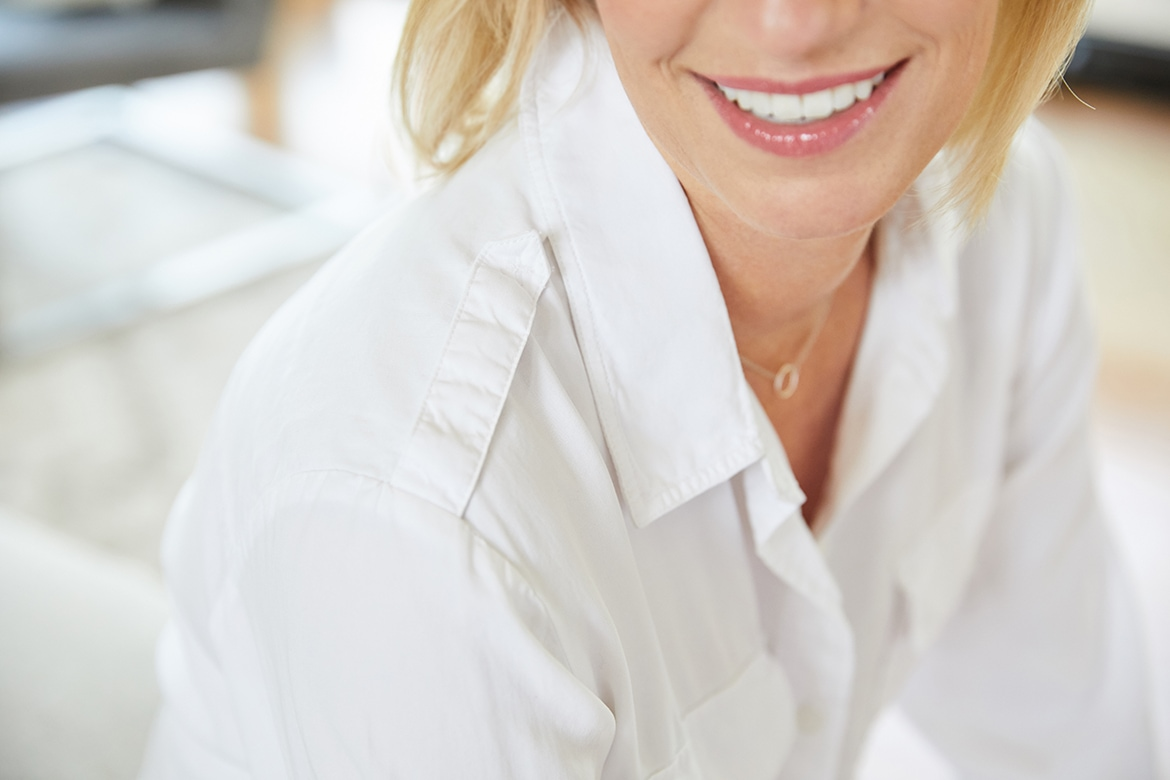 details of white button down