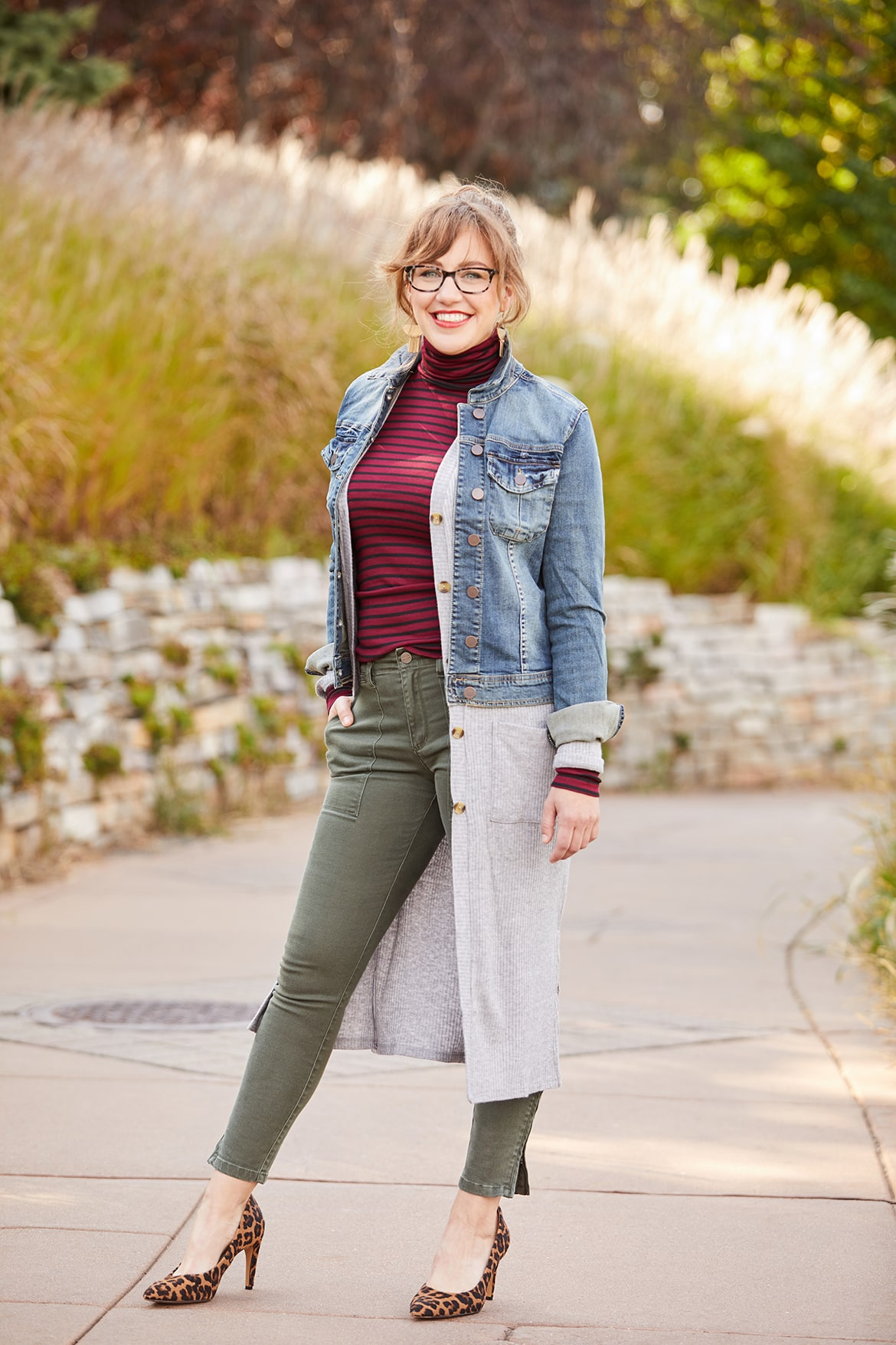 Duster length cardigan layered with jean jacket