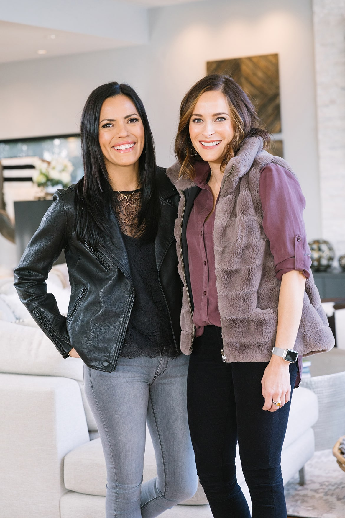what to wear for thanksgiving faux rabbit fur vest and moto jacket coated black denim