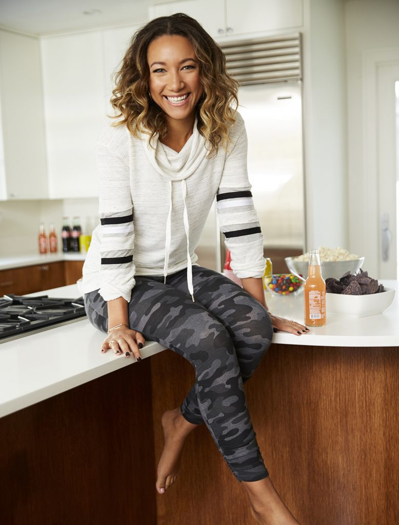What to wear to the super bowl, black and grey camo leggings and cowl neck sweater